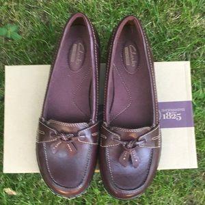 Clark's Ashland Bubble Burgundy Leather Loafers